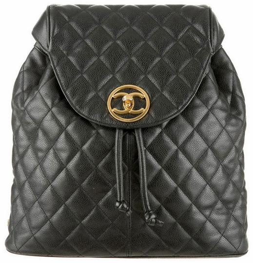 Chanel Knapsack Quilted Cc Logo Caviar Leather Classic Flap Backpack Image 0