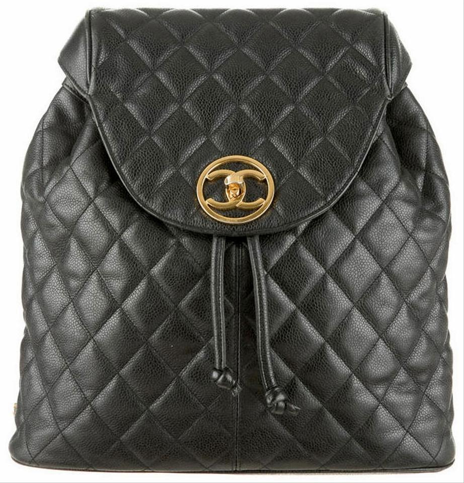 9ba2460830be Chanel Shoulder Bag XL Vintage Caviar Quilted Classic Cc Logo Flap Knapsack  Black Calfskin Leather Backpack