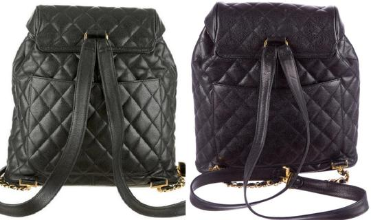 Chanel Knapsack Quilted Cc Logo Caviar Leather Classic Flap Backpack Image 4