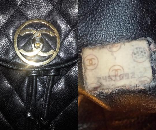 Chanel Knapsack Quilted Cc Logo Caviar Leather Classic Flap Backpack Image 8