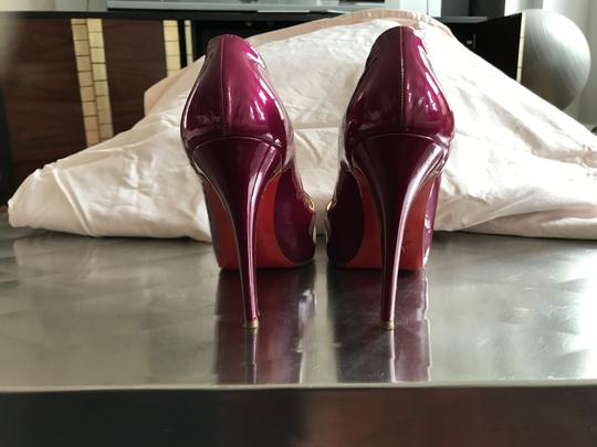 Christian Louboutin Patent Leather Mesh Cutouts Cerise (Fuschia) Pumps