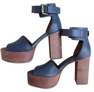 See by Chloé Platform Open Toe Chunky Leather Ankle Strap Navy Sandals