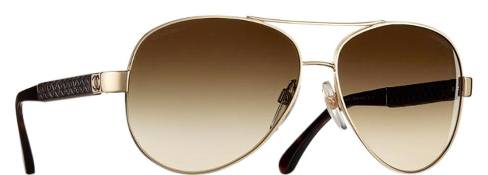 1035f0dd14 Chanel 4195 Aviators CC Pilot Leather Quilting Signature Lambskin Oversized  Image 0 ...