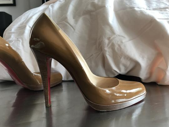 Christian Louboutin Patent Leather Stacked Heel Light Brown / Caramel Pumps