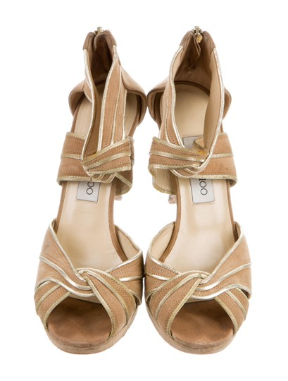 Jimmy Choo Gold Nude Sandals