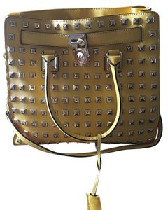 Michael Kors Yellow Leather Studded Travel Tote in Citrus Gold tone