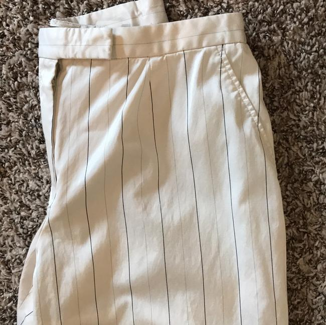 Armani Collezioni Trouser Pants Off white with grey and navy pen stripe.