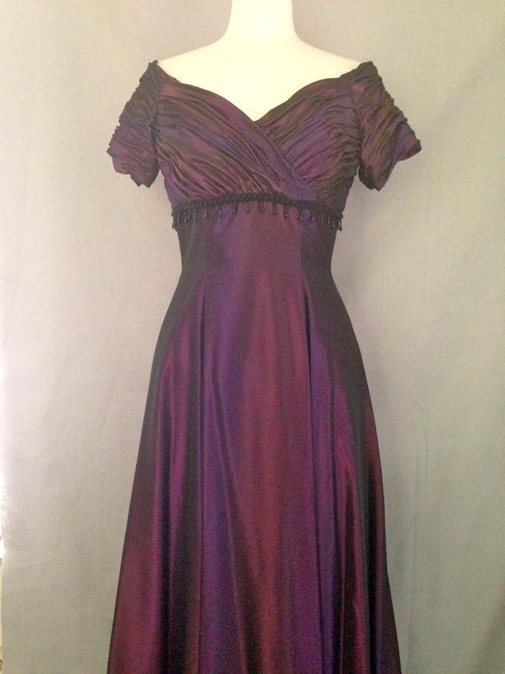Saks Fifth Avenue Eggplant Acetate Terence Nolder Formal Bridesmaid Mob Dress Size 10 M