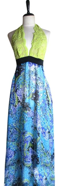 Multicolor Maxi Dress by Lisa Nieves Chiffon Print Prom Halter Maxi