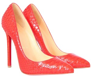 Christian Louboutin Thigh High Snakeskin Pigalle Red Pumps