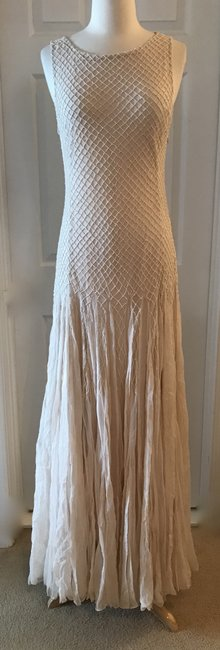 Item - Champagne Alice+olivia Saori Embellished Gown with Godets Wedding Dress Size 6 (S)