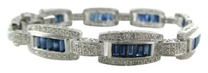 14KT SOLID WHITE GOLD BRACELET 168 DIAMONDS 1.68 CARAT BANGLE SAPPHIRES JEWELRY