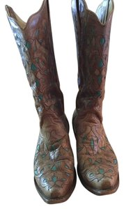 Corral Boots Cowgirl Western Size 10.5 Vintage Brown and Turquoise Blue Boots