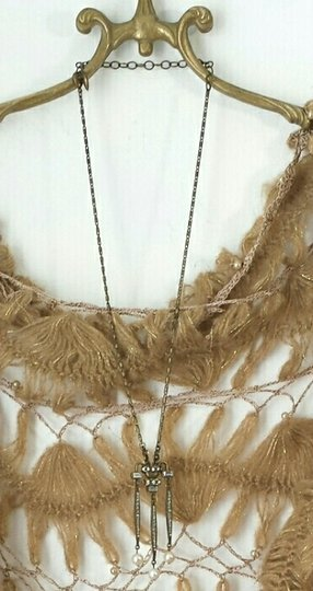Other Deco Inspired Baguette and Pearl Crown-Drop Necklace
