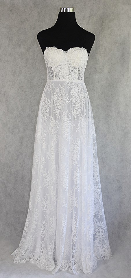 Lisa Nieves French Lace Sweetheart Gown Formal Wedding Dress Size 8 ...