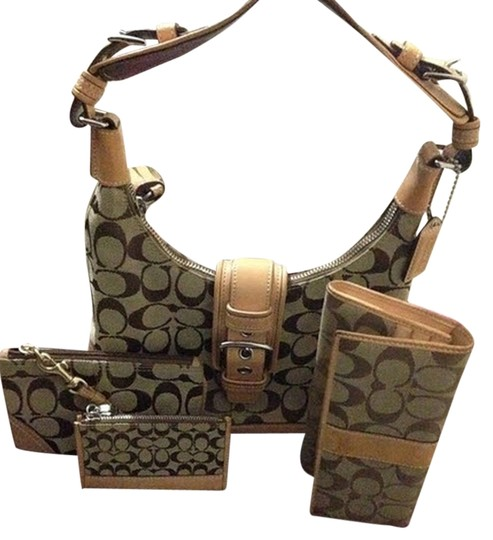 Preload https://img-static.tradesy.com/item/2157853/coach-classic-set-khaki-vachetta-leather-and-jacquard-sinature-fabric-shoulder-bag-0-0-540-540.jpg