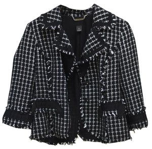 White House | Black Market Tweed Jacket Frayed Black, white Blazer