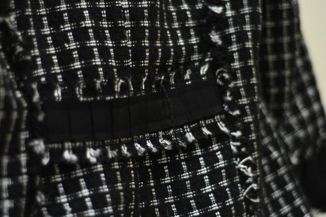 White House | Black Market Tweed Frayed Black, white Blazer