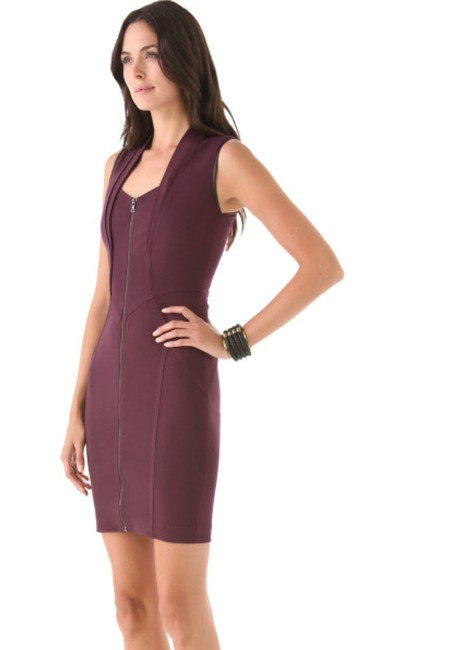 Yigal Azrouël Bodycon Linging Right Plum Purple Zip Front Dress