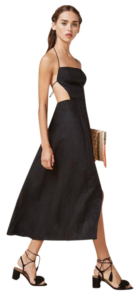 59a45183e9 Reformation Black Manon Mid-length Casual Maxi Dress Size 4 (S ...