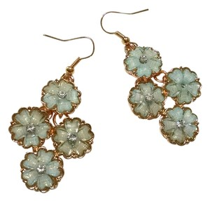 New Flower Light Blue & Gold Earrings Crystals Dangle Jewelry J765