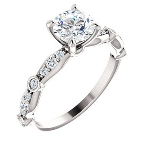 14 K White Gold 2.4 Carat H Si1 Round Solitaire 2.90 Grams Engagement Ring