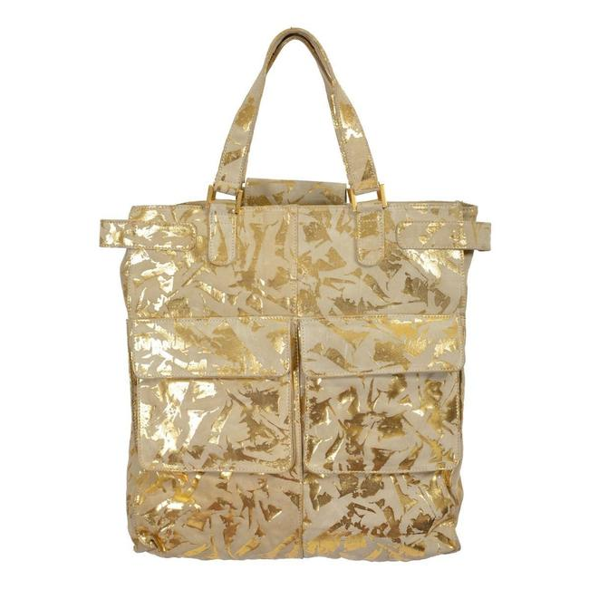 Item - Gray/Gold Women's Gray/Gold Leather Shoulder Bag