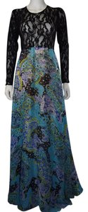 black turquoise blue multicolor Maxi Dress by Lisa Nieves Maxi Print Stretchy Lace Longsleeve