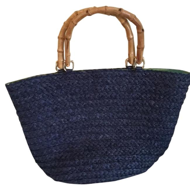 Item - With Bamboo Handles Navy Raffia Tote