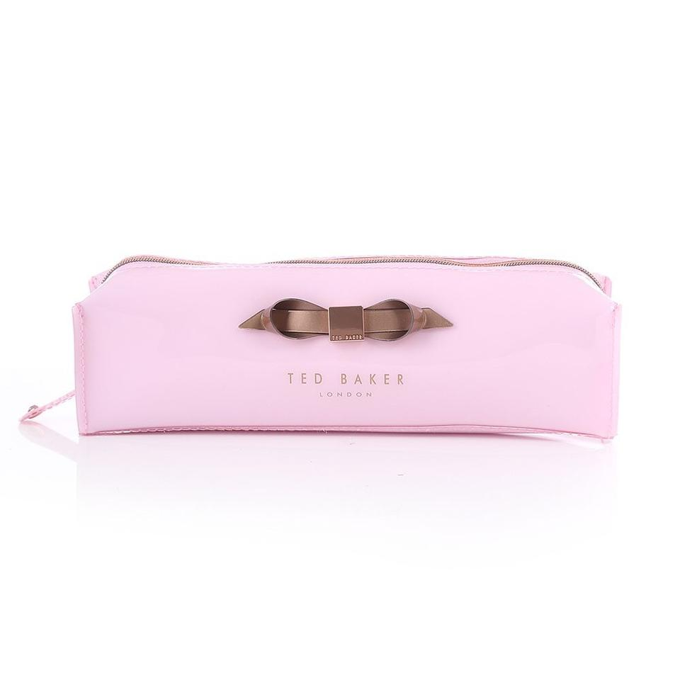 Ted Baker Britni Slim Bow Pencil Case Pink Pvc Cosmetic Bag