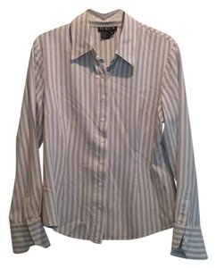 Tracy M Button Down Shirt light blue and white