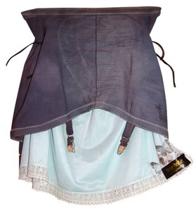 Girdle Garter Hook Girdle Mini Skirt Grey Blue Girdle, Baby Blue Slip