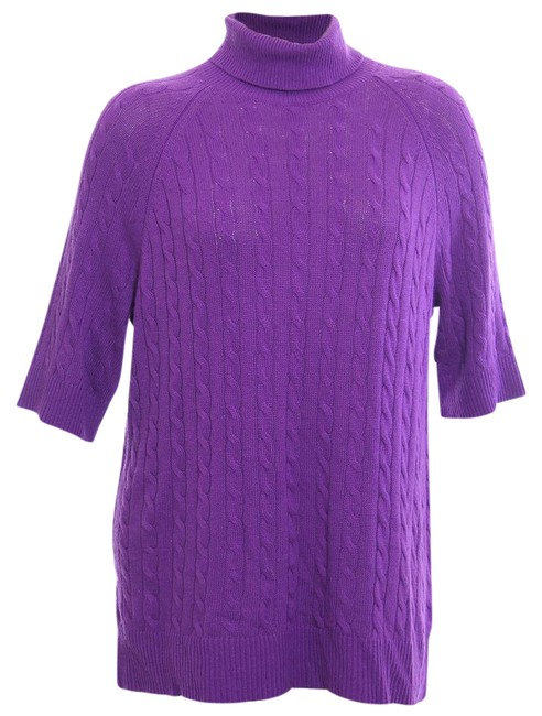 Item - 1x Turtleneck 3/4 Sleeve Cashmere Wool Cable Knit Purple Sweater