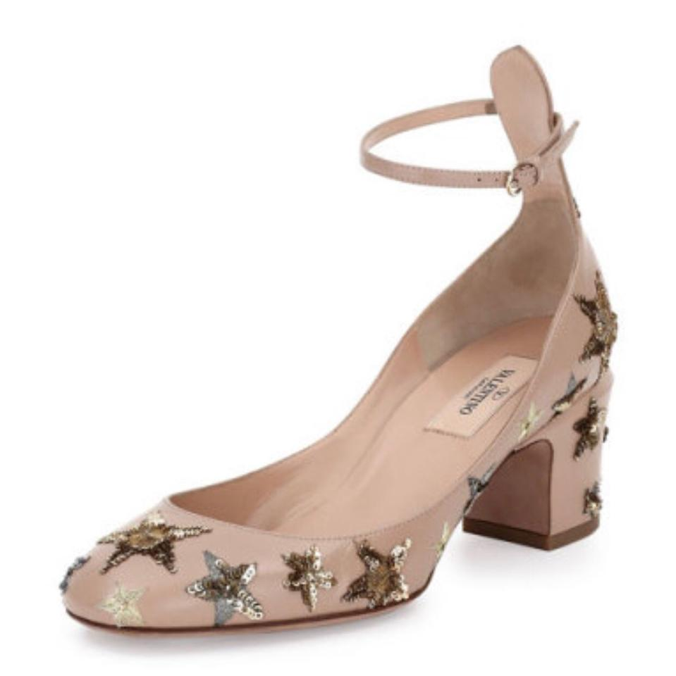 334879ead1 Valentino Nude Tango Embellished Leather Pumps Size US 9 Regular (M ...