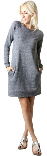 Item - Heather Black Sweatshirt Tunic Or Front Pockets Comfy Short Casual Dress Size 8 (M)