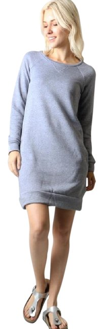 Item - Heather Gray Sweatshirt Tunic Or Front Pockets Comfy Short Casual Dress Size 4 (S)