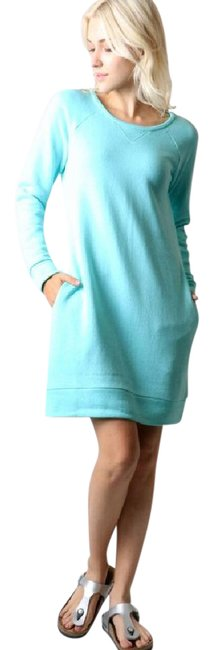 Item - Heather Mint Sweatshirt Tunic Or Front Pockets Comfy Short Casual Dress Size 8 (M)