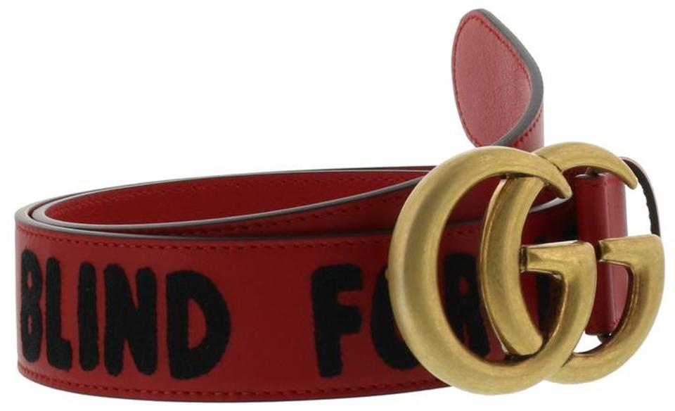 fe33597b20c Gucci Blind For Love Embroidered Double G Buckle Leather Belt Size 90 Image  4. 12345