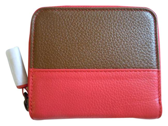 Item - Brown Coral New Leather Zip Around Wallet