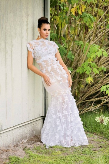 Lisa Nieves White Beaded Tulle Mermaid