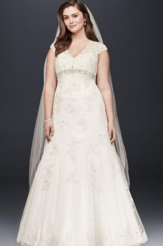 08897287dd David s Bridal Ivory Lace Over Satin Cap Sleeve Style  9t3229 Traditional Wedding  Dress