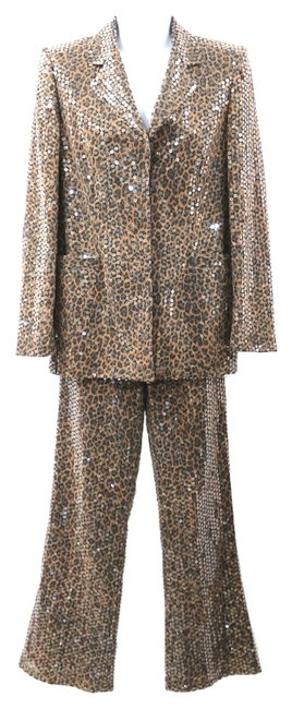 Escada ESCADA ANIMAL PRINT CLEAR SEAQUINED EMBELLISHED COCKTAIL PANT SUIT 34