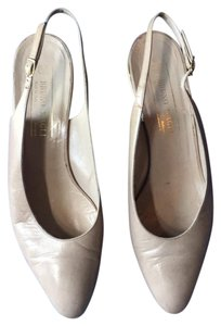 Bruno Magli light tan upper / medium tan heel , gold trim on heel Flats
