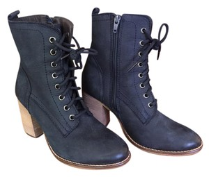 Steve Madden Chunky Lace-up Zipper Suede Leather Navy Blue Boots