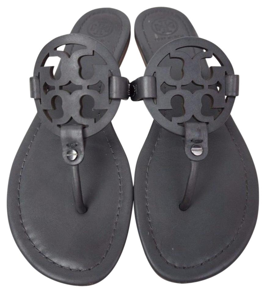 ddc7d4bcebd9e Tory Burch Dark Grey Miller Flip Flops Leather Sandals Size US 8 ...
