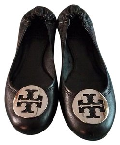 Tory Burch Reva Silver Leather Black Flats