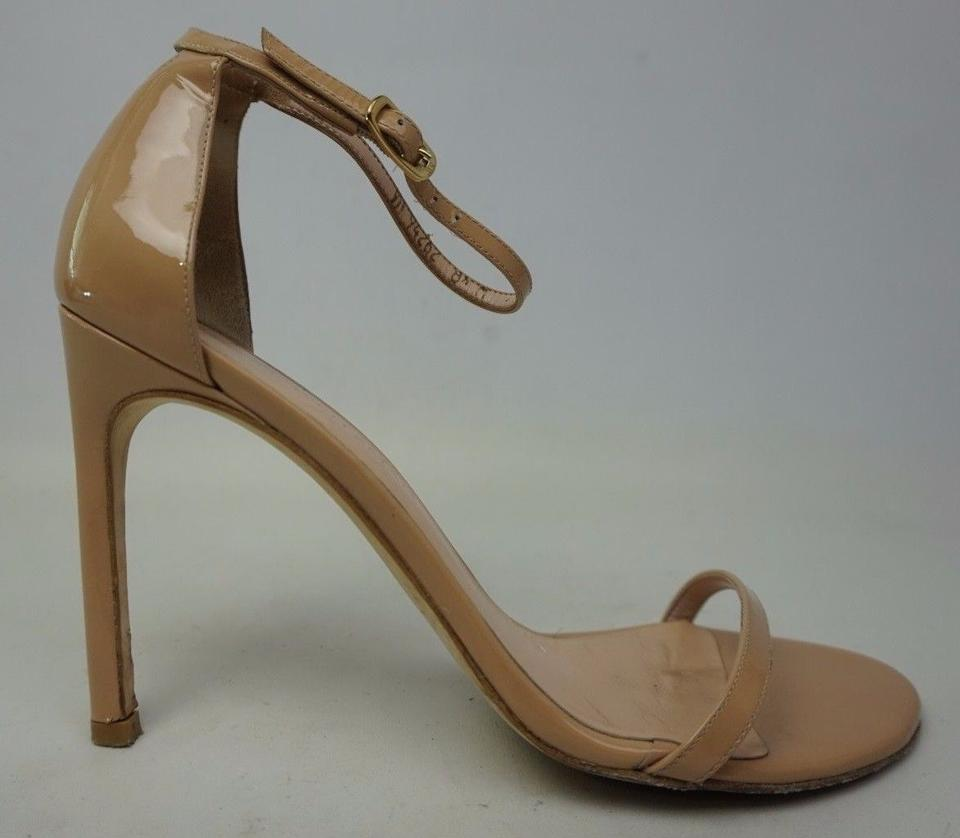 Stuart Weitzman Adobe Aniline Heel Nudistsong Ankle Strap Kid Leather Heel Aniline Sandals 439258