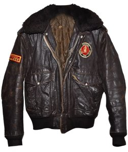 Schott NYC New York Vintage 1970s 70s 80s 1980s Distressed Vintage Car Club Automotive Foreign Pirelli Riverside Vintage Brown Leather Jacket