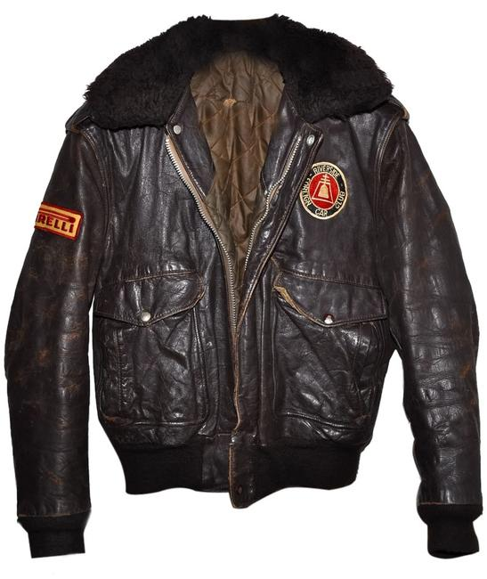 Item - Brown Club Vintage Furry Collar Riverside Foreign Car Racing Automotive Bomber 42 Jacket Size OS (one size)