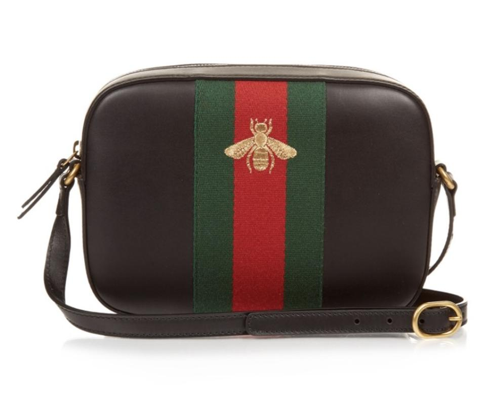 Gucci New Women\u0027s 412008 Red Green Web Bee Purse Brown Leather Cross Body  Bag 23% off retail